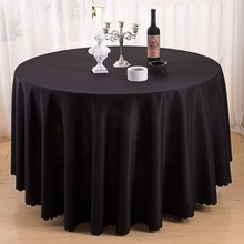 plain dyed black embossing 108' round polyester table cloth