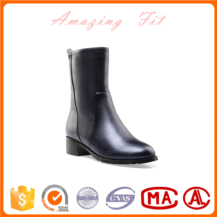 Italian style winter shoes waterproof chunky simple no heel half boots for women