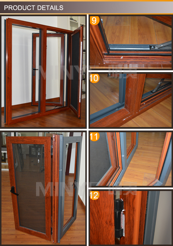 Competitive price pictures of aluminum window style French casement window