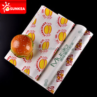 Custom logo printed greaseproof paper burger wrap