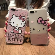 Newest Soft TPU Side 3D Relief Hello Kitty Silicon Cover Case For Iphone6 7 7Plus DO your own logo