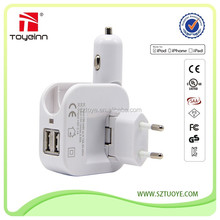 2 in 1 usb charger with the EU plug 2 in 1 5v 1a 5w usb car charger car
