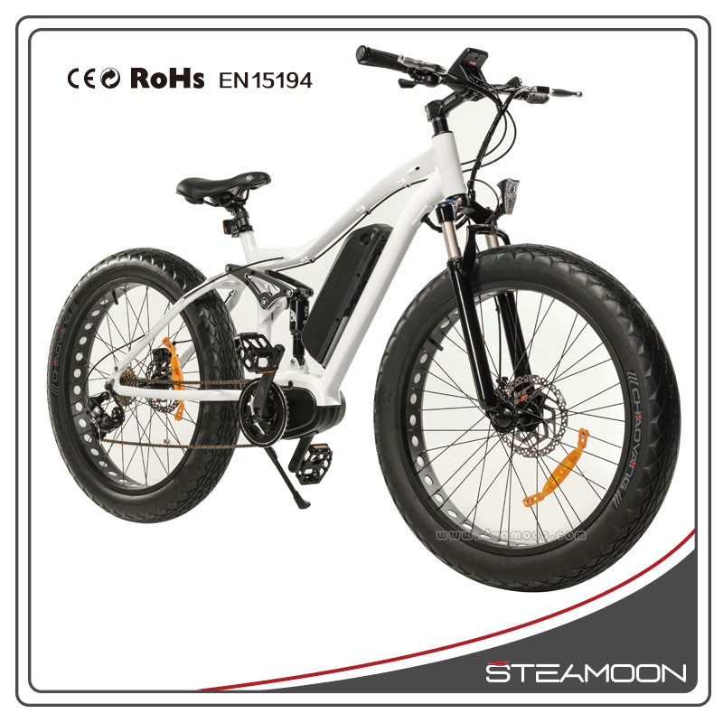 48v350w 8fun latest generation mid motor electric fat tire bike/ebike/bicycle with full suspension