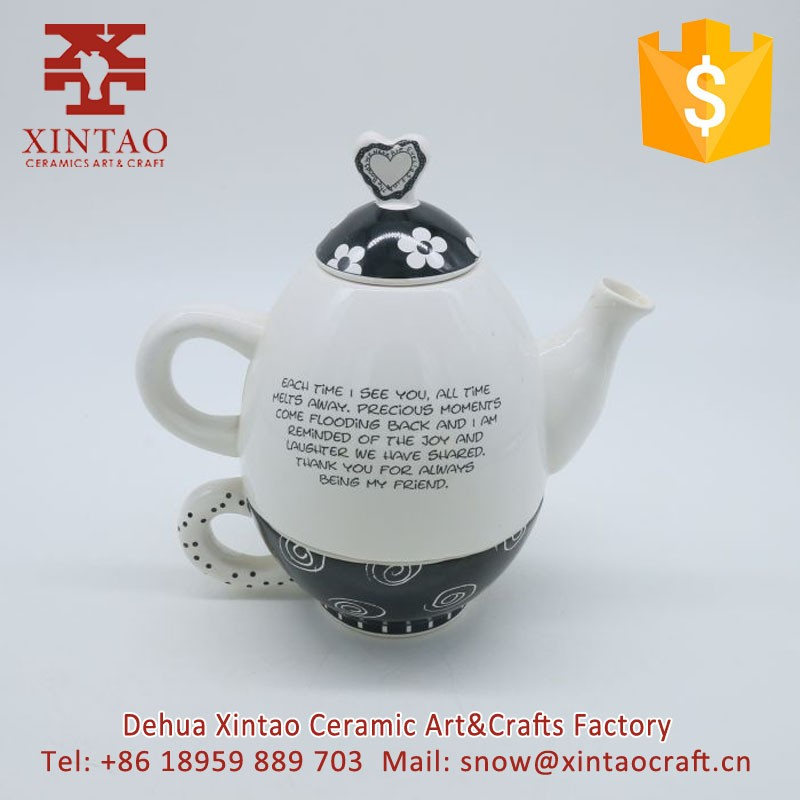 Dehua factory supply cheap egg shape ceramic glazed tea pot