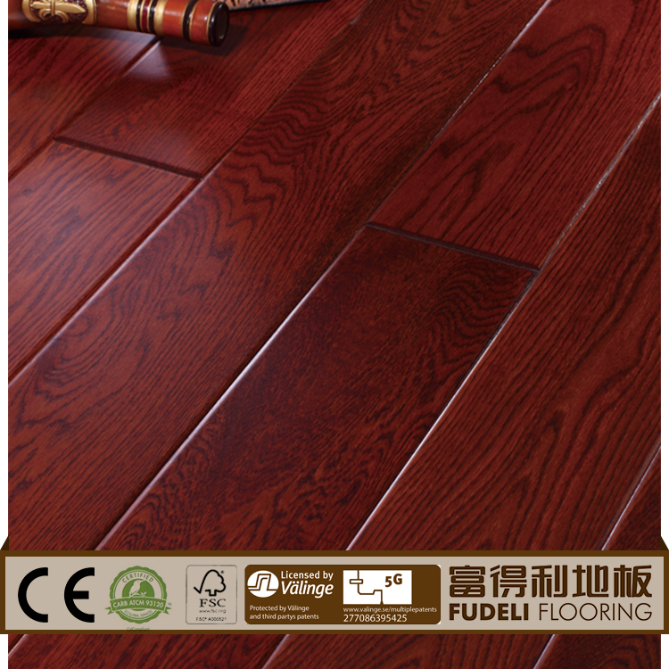 Laminated red oak parquet wood floor