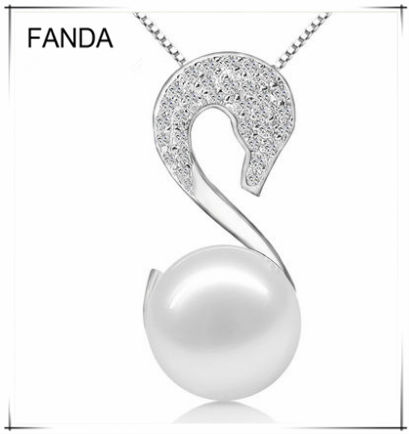 Elegant swan natural pearl jewelry mounting 925 sterling silver design