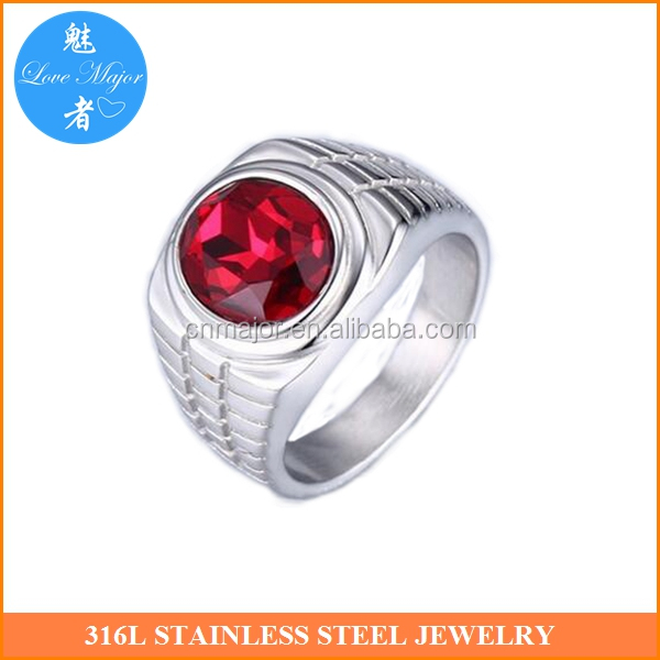 red rhinstone stainless steel rings for men New Zealand jewelry