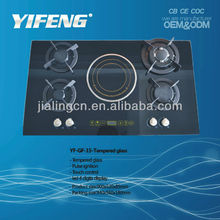 Tempered glass 5 burner gas with induction cooker YF-GF-15