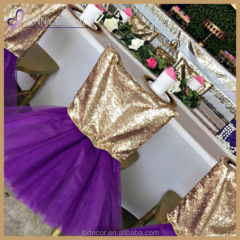 C328 wholesale cheap wedding party gold sequin head purple tutu bottom chair cover chair sashes for sale