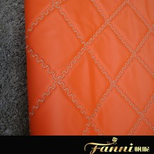 Hot Sale PVC Sponge Artificial Leather/PVC sponge leather with embroider on surface