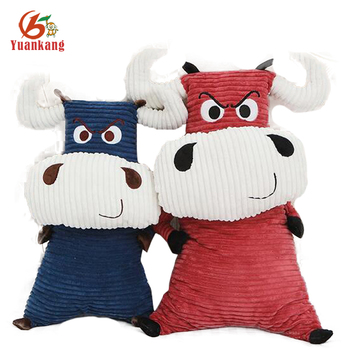 Factory Custom Soft Emoji Big Laughing Bull Stuffed Calf Toy Red And Blue Plush Cow Toy