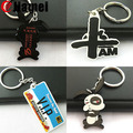 Promotional 2d one side printed logo custom rabbit pvc keychain
