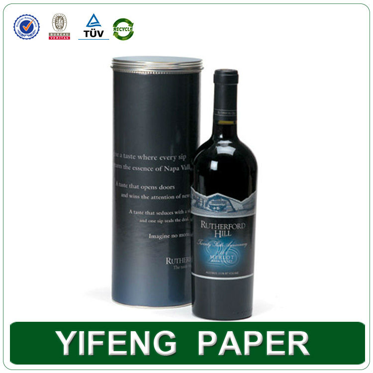 Custom Fancy Round Tube Paper Cardboard Wine Gift Boxes Wholesale