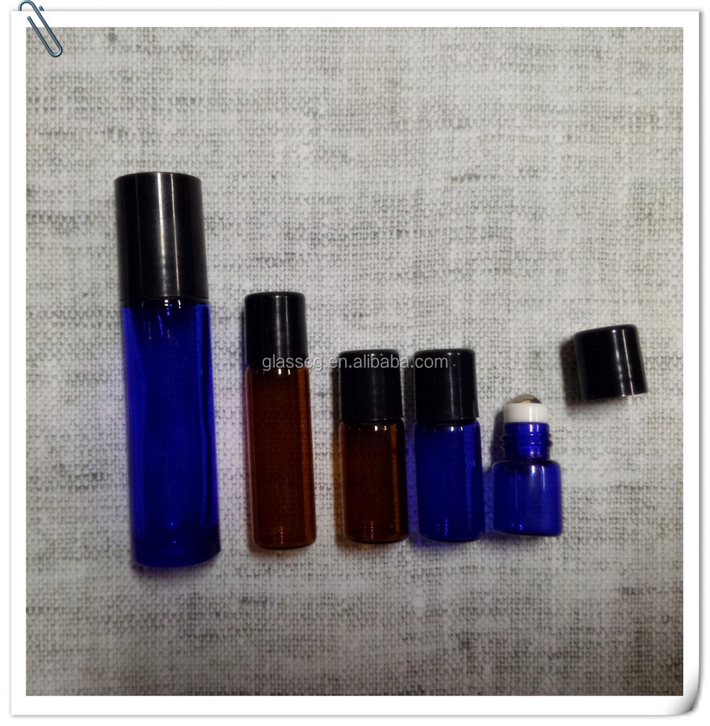 Hot Sale 1ml 2ml 3ml 5ml 10ml Amber Blue Clear Roll On Bottle With Roller And Cap
