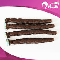 Qicai Brazilian human hair tight curly tape hair extension, brown color skin weft hair