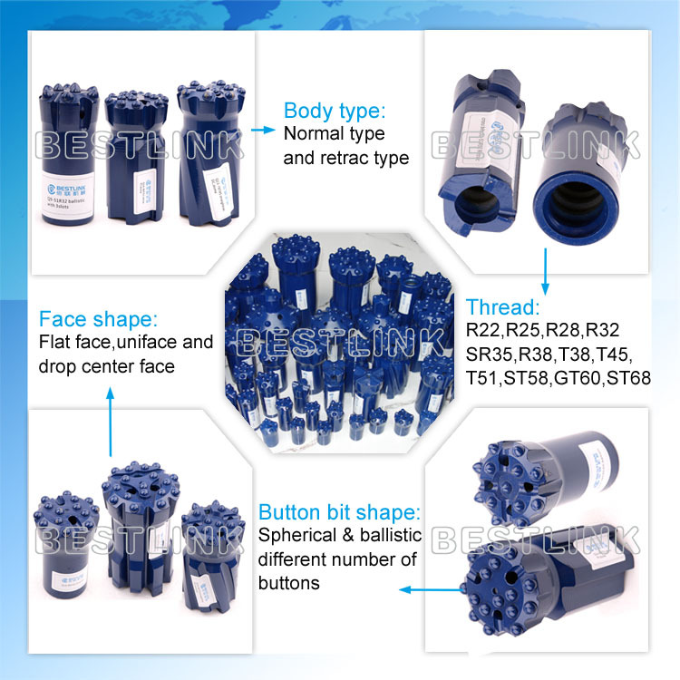 R32, R38, T38, T45, T51 Retrac&Standard Thread Drill Bits