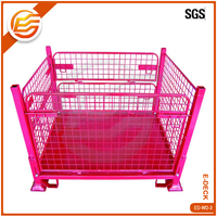 Collapsible wire mesh galvanized steel industrial wire crate