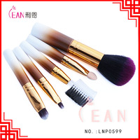 lean 5pcs oem gradual change color wood handle synthetic hair cute cosmetic brush set travel makeup kit in stock opp bag packing