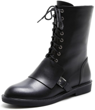 China Wholesale Ladies Winter Black Women's Leather Motocross Half Riding Boots