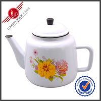 Flower Decal Colored Milk Enamel African Coffee Kettle