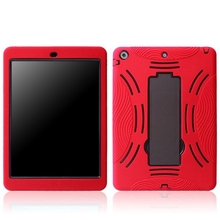 Multi-colors silicone case with supportable pc bracket, silicone case for iPad 5