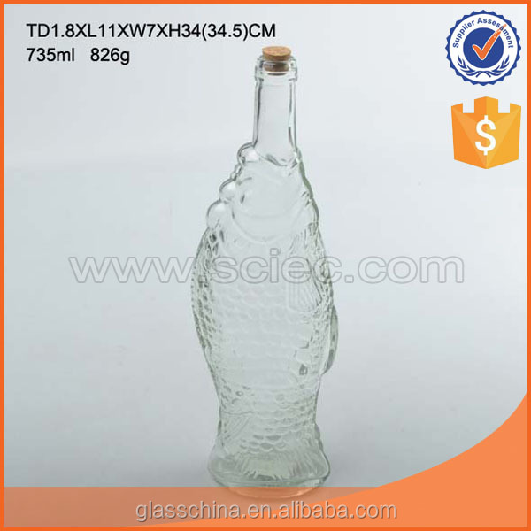 Glass Storage Jar with Cork Lid Fish Shaped Small Mouth