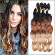 Qingdao Milan Fashion Virgin Body Wave Brazilian Hair Bundles Two Tone Ombre Bundles 100% Remy Human Hair Extension In Milwaukee