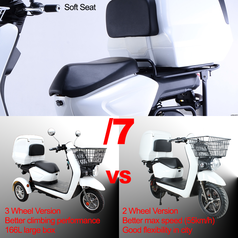 3 Wheel Adult Electric Bricycle 60v 20ah Lithium Battery 1200w Trike Electric Bicycle