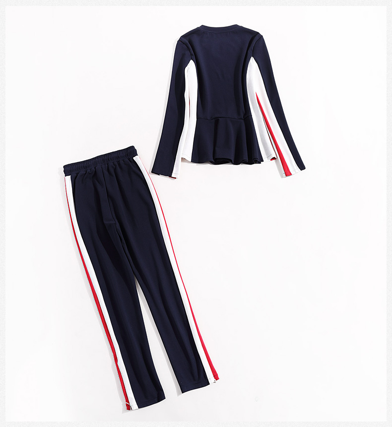 2017 Latest dark blue jerseys sports clothing sets stripe side long sleeve fashional in Europe and USA