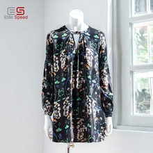 2017 latest design fashion casual viscose low scoop neck long sleeve loose fit printed ladies summer beach holiday mini dress