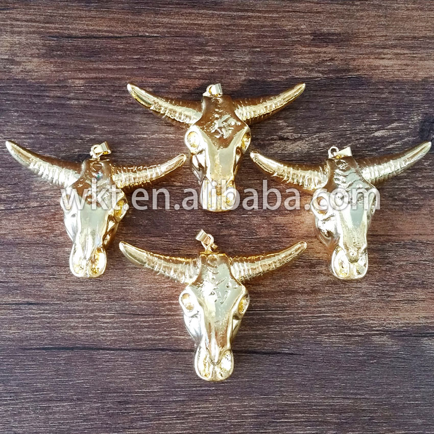 WT-P495 Wholesale 24k full gold electroplated cattle horn pendants, fashon tibetan resin buffalo horn jewelry pendants