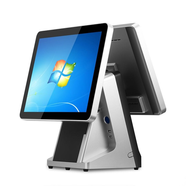 15 inch +11.6 inch Dual Screen Point of Sale Capacitive <strong>Touch</strong> J1900 4G 64G buil-in 58mm printer