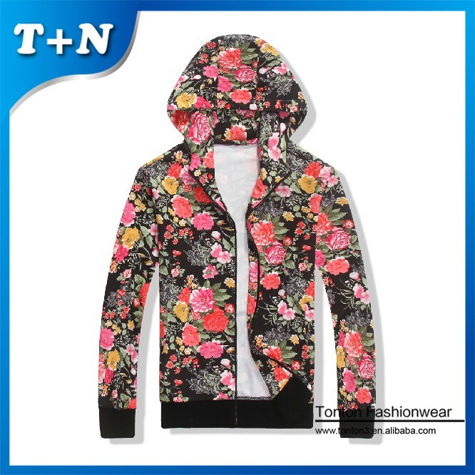 women printing pullover zip up hoodies wholesale