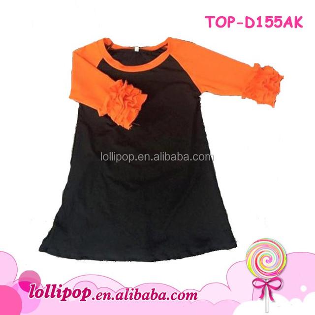 Boutique Adults Ruffle Raglan Long Frock Dress Orange/Black Ladies Women Icing Ruffle Raglan Dress