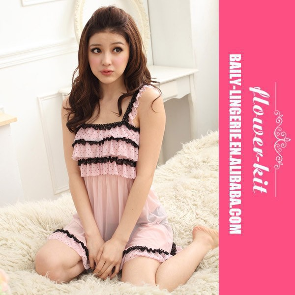 Most beautiful factory price china mature transparent long dress, wholesale sheer babydoll