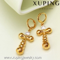 20865-IT5 xuping wholesale fashion jewelry earrings for women,single stone earring designs,18k gold diamond cross earring