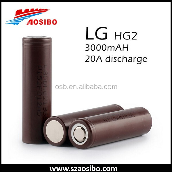 Authentic lithium polymer lg 18650 hg2 3000mah rechargeable li-ion batteries 3.7v 4.2v