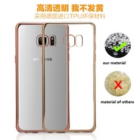 plating shockproof transparent cover for samsung galaxy note 7 tpu soft case
