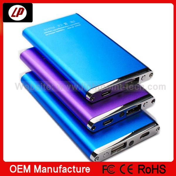 2014 latest design ! portable mini ultra slim mobile phone power bank with CE ROHS FCC certification