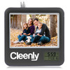 Black present time family photo frame clock/wholesale personalized desk clock with picture frame