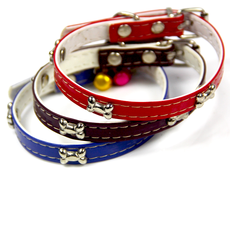 <strong>Handling</strong> Poop Cat Collar with Color Bell Small Dog Collar with Metal Bone