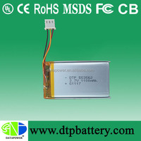 High capacity rechargeable 7.4v 1100mah li-polymer battery for smart phone