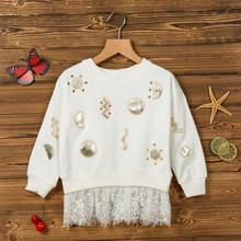 girl's cotton knitted long sleeve lace tailed one piece fashion dress girl's casual dress
