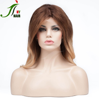 Wholesale Ombre Color 1b/blonde Human Hair Full Lace Wig Short Wavy Brazilian Front Lace Wig For white Black Women