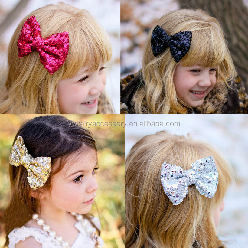 Hot selling fancy sparkle sequin bows hair clip girls sequin hair bow with clip