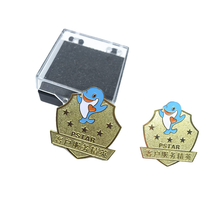 Make your logo cartoon dolphin gold lapel pins for zoo and ocean park