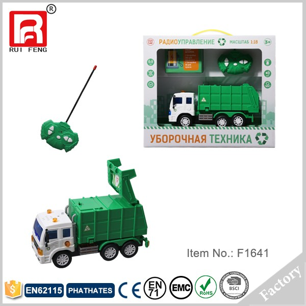 Green 4ch plastic garbage truck toy with light