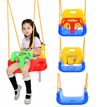 brand durable hanging 3 in 1 infant plastic swing sets with ropes children two seat swing