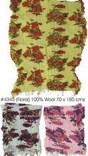 100% Wool Floral shawl