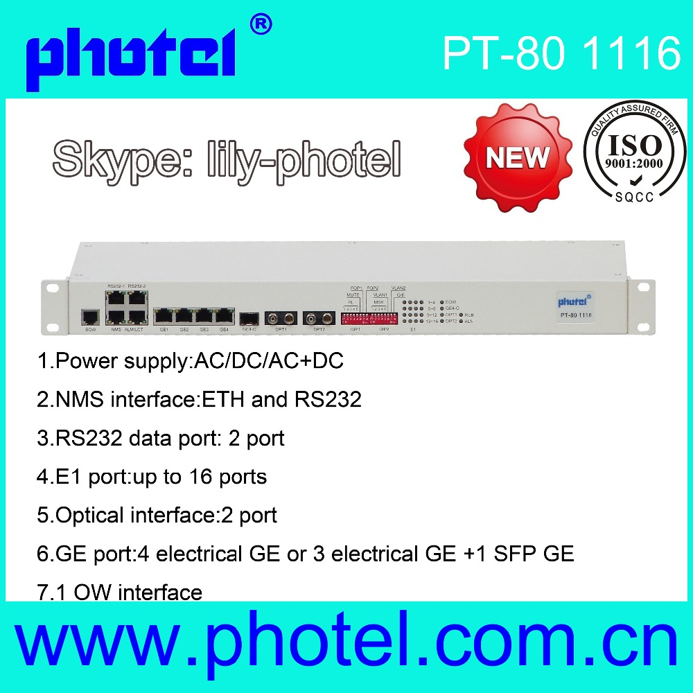 16E1 + 4 GE PDH Multiplexer with Redundant Optical Ports and SNMP